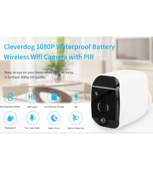 CleverDog Smart Battery Waterproof IP Wi-Fi Wireless 1080P Camera
